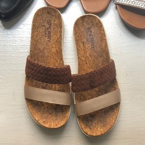 Sperry cork slides with gold band
